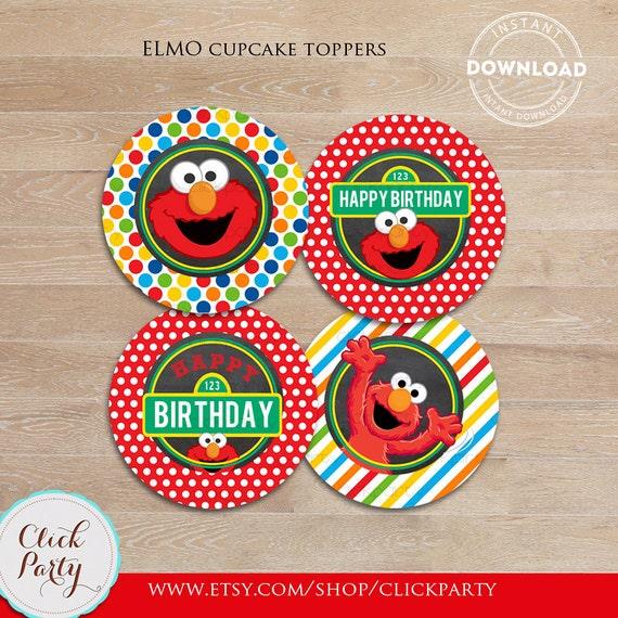 Elmo Chalkboard Cupcake Toppers Sesame Street Printable cake