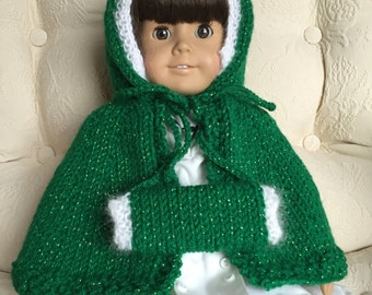 Green Knit American Girl Doll Outfit Holiday Cape/Coat and Muff ; White Sparkles ; Gift for Girls