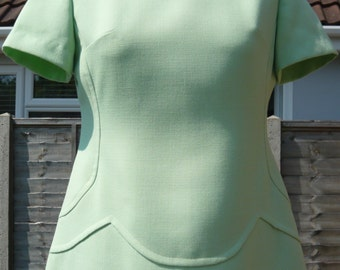 1960's Vintage Ladies Light Green Day Dress
