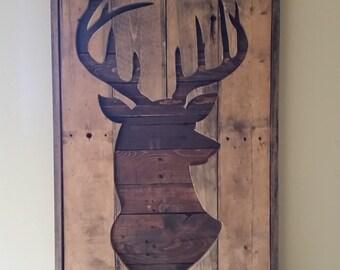 Pallet Wood Deer Head Silhouette