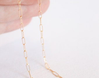 14k Gold Filled Chain by the Foot - 2mm x 5mm Link Elongated Chain - Thin Chain - Fancy Chain Wholesale Chain - Rectangle - Oval / GF-CH006
