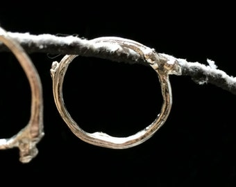 Silver twig ring in size M