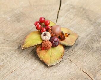 Autumn brooch, Fall brooch, Fall flowers brooch, Autumn floral brooch, Fall leaves brooch, Fall jewelry, Autumn leaf jewelry, Fall accessory