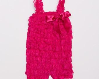 Hot Pink Lace Petti Romper, Lace baby romper, Baby girl romper
