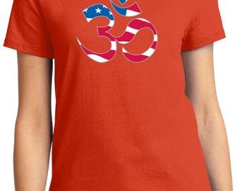 Yoga Clothing For You Ladies Shirt Patriotic OM Tee T-Shirt = LPC61-PATRIOTIC