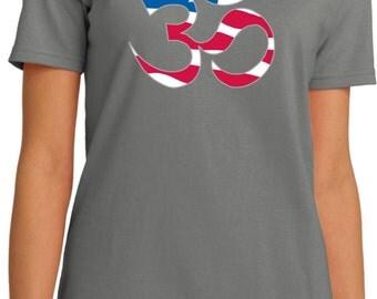 Yoga Clothing For You Ladies Shirt Patriotic OM Organic Tee Shirt = LPC150ORG-PATRIOTIC