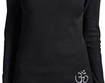 Yoga Clothing For You Ladies Shirt Hindu Patch Bottom Print Long Sleeve Tee T-Shirt = 5001-HINDU