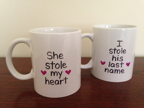 She Stole My Heart, I Stole His Last Name Mugs, Set Of