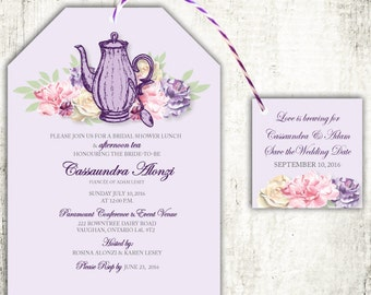 TEA PARTY Bridal Shower Invitation // Tea Pot Floral // Wedding Shower// PRINTED Invites //Mauve & Purple