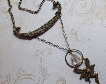 Upcycled Vintage Drawer Pull Necklace with 1970s Fairy Pendant and Classic Drop Swarovski Crystal