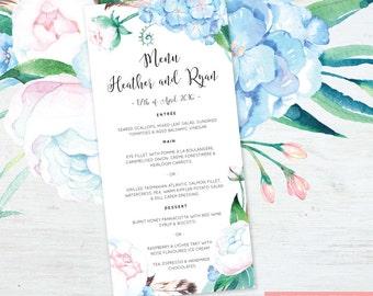 Printable Wedding/Engagement Menu, DIY Printable Watercolor Wedding Menu - Moonflower