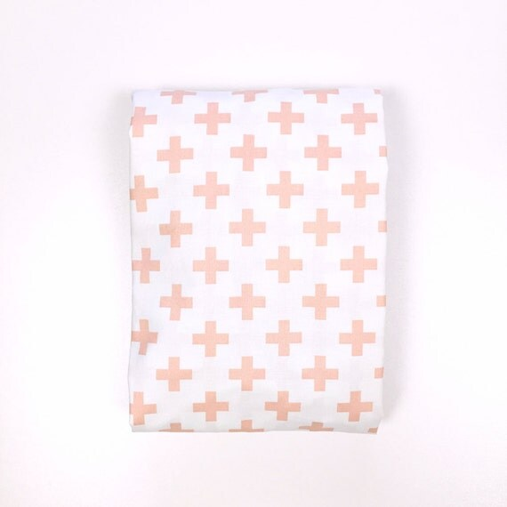 Changing Pad Cover >> Nordic Cross in Dusty Pink >> Made-to-Order >> ballet pink changing pad, scandinavian changing pad, swiss cross, plus