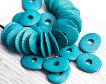10 Pcs Greek Ceramic Cornflake Chips, Earthy Jewelry Supplies, Turquoise Beads, Mykonos Ceramic Spacer Beads, 16x13mm, MK166