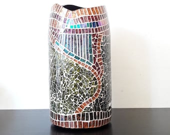 vase, mosaic,  from recycled giant champaign bottle nr. 313