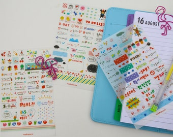 Kawaii Planner stickers set, Market Stickers Diary Stationary Pack