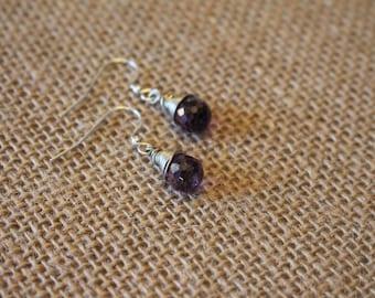 Cubic Zirconia Earrings, Amethyst Earrings, Wire Wrapped, Sparkle