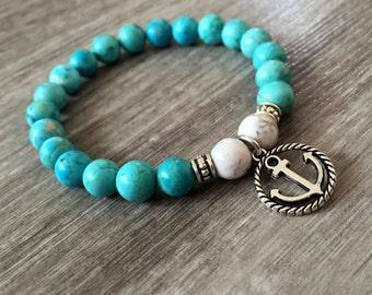 Genuine Healing Bracelet, Turquoise Bracelet, Howlite Bracelet, Anchor Bracelet, Healing Bracelet, Strength Bracelet, Confidence, Yoga Mala