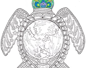 adult coloring page world turtle printable coloring page for adults part of the - Printable Coloring Images