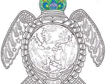 adult coloring page world turtle printable coloring page for adults part of the - Printable Coloring Books For Adults