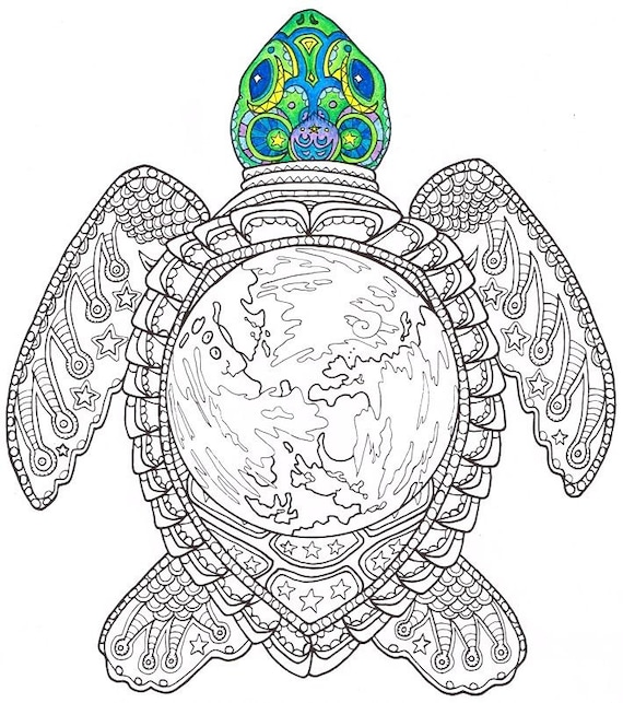 Adult coloring page world turtle printable coloring page for Sea turtles coloring pages