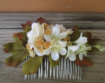 Autumn Hair Comb, Ivory Rose & Orange Blossom, Natural Flower Bridal Hair Accessory, Fall Bridal Hair Accessory, Autumn Wedding Accessory