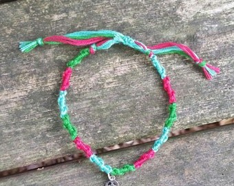 Non Profit - Handmade Pink and Green Bracelet with a Hamsa Hand Charm - Farm Sanctuary - Donations to Help Farm Animals