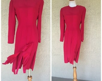 Oleg Cassini Red Silk Dress with Carwash Hem (HOLD FOR EROS)