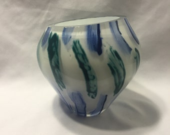 Polished Hand Blown Asymmetrical Vase