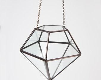 Small Hanging Geometric Terrarium // Clear Glass Diamond // Planter for indoors