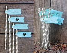 10 Flags - Seafoam Calligraphy Straw Flags, Paper Straw Flag, Tiffany Paper Flags, Tiffany Wedding Flags, Aqua Paper Flags, Party Flags