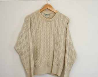 Australian Made Merino Cable Knit Sweater, Wool Jumper, Knit - Vintage Toorallie