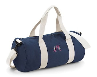 Personalised Embroidered Floral Initial holdall weekend bag, overnight hospital bag, uni duffel