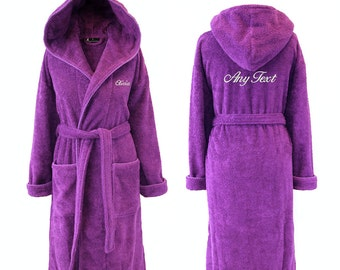 Personalised Purple Hooded Towelling Dressing Gown, Bathrobe 100% Cotton