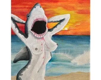 Shark Bait on Canvas, original acrylic painting by camille smooch