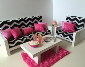 "American Girl Doll Furniture. 18"" Doll Furniture. Living Room - Black and White Chevron"