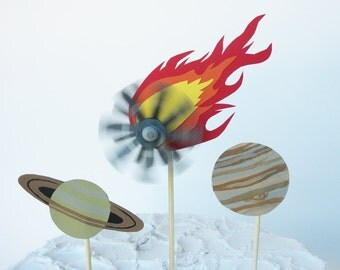 Spinning Meteorite Cake Topper and Planets, Outer Space Party Decoration, Outer Space Birthday, Shooting Star Meteor with Saturn and Jupiter