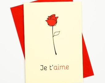 JE T'AIME card, Love card, Romantic card, Valentines card, French cards, Anniversary card boyfriend, Anniversary card girlfriend, Je t'aime