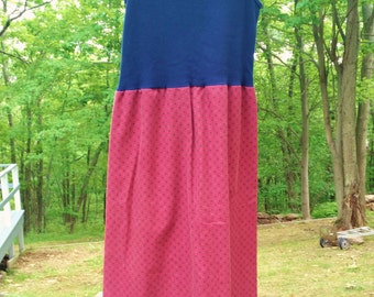 Upcycled Pillowcase Dress - Boho Dress - Red and Navy Sundress, Summer Dress, Repurposed dress