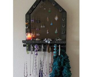 Rustic Jewelry Organizer, Jewelry Storage, Wall Mounted Jewelry Organizer, Pentagon Shape
