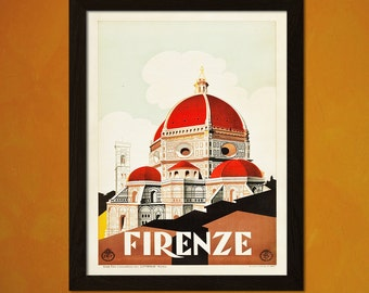 Firenze Travel Print 1930s - Vintage Travel Poster Firenze Poster Wall Decor Home Decor Italy Travel Poster   bpt