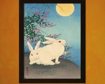 Japanese Art - Ohara Koson Artwork - Ukiyo-e Art Home Decor Oriental Decor Asian Art Edo Period Japanese Artist Rabbit  t