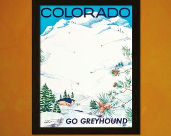 Colorado Travel Print 1960s - Vintage Colorado Travel Poster Wall Decor Travel Home Decor Gift Colorado Poster  t
