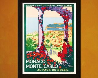 Monaco Travel Print 1922 - Vintage Travel Poster Tourism Wall Decor Poster Gift Idea Monaco Poster Monte Carlo t