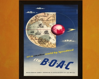 BOAC Travel Poster 1945 - Vintage Imperial Boac Poster Tourism Wall Decor Poster Poster Airline Poster   Reproductiont
