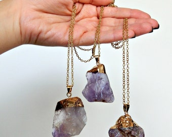 Natural purple quartz druzy, Gold chain purple quartz crystal necklace, Natural quartz necklace.