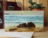 Handmade greeting card Hand-painted card Nautical greeting card Seascape art Sea card Art card on canvas texture paper