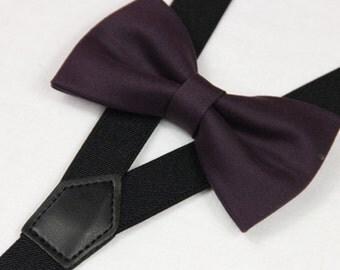 Dark purple bowties,BOWTIE SUSPENDER SET,black suspenders,infant bowties,toddler bowtie,boy bowtie,men wedding bowtie suspenders set