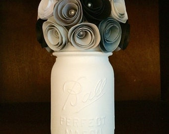 Rustic shades of grey paper rose bouquet in a hand painted cream mason jar!