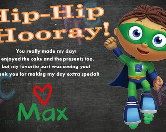 "Super Why Birthday Party 4""x6""Thank You Card {Digital File Only}"