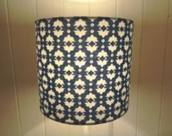Handmade 30cm drum lampshade in a vibrant blue and white print